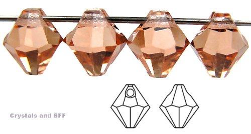 6mm Light Peach, Czech Machine Cut Top Drilled Bicone Pendant (6301 Shape), 12 pieces ()