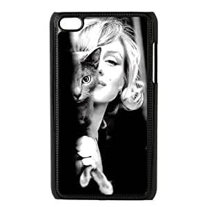 Marilyn Monroe with a Russian Blue Kitty Cat Ipod Touch 4 Case Protective Cute For Girls, Ipod Touch 4g Case Hard [Black]