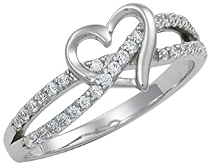 Promise Ring for Her: Sterling Silver Double Twisting CZ Simulated Diamond Heart Promise Ring