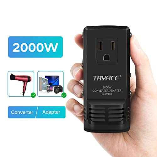 TryAce 2000W All in One Travel Voltage Converter for Hair Dryer Straightener, Step Down 220V to 110V, US/UK/AU/EU Worldwide Plug for Over 200 Countries