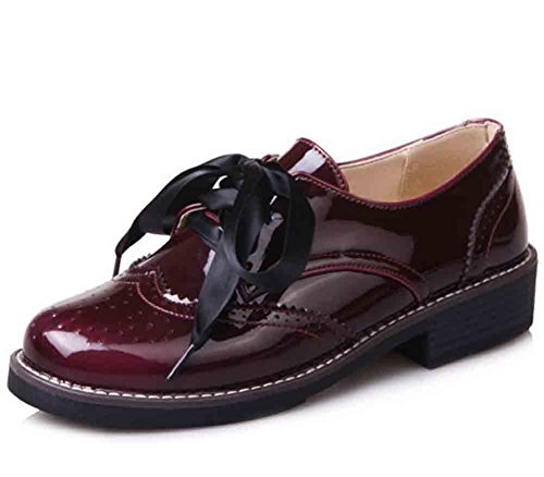 Easemax Women's Fashion Round Toe Low Cut Lace Up Low Block Heel Oxfords Shoes Wine Red 4 B(M) US by Easemax