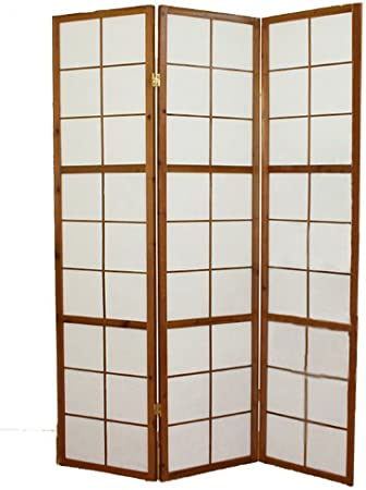 PEGANE Biombo japonés de Madera Shoji Color castaño Oscuro de 3 Paneles