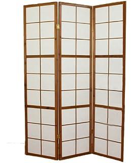 PEGANE Biombo japonés Shoji de Madera castaño Oscuro de 5 Paneles: Amazon.es: Hogar