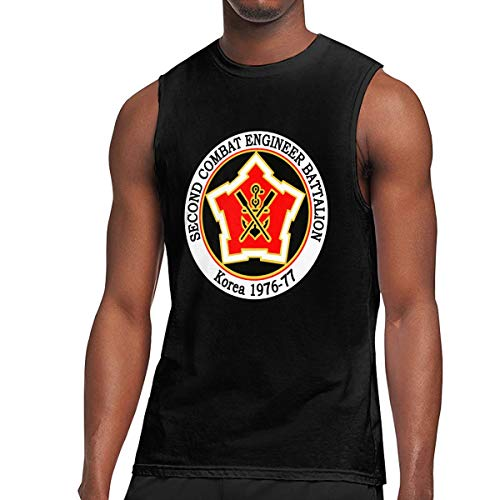 BFBG5f-Tee Men's US Army Unit 2nd Combat Engineer Muscle Tank Top Gym Bodybuilding Sleeveless Shirts ()