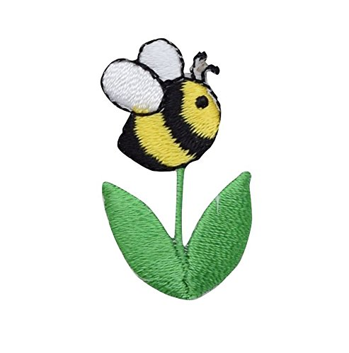 Bee Bumble Embroidered (Bumble Bee Flower - Green Stem/Leaves - Iron on Applique/Embroidered Patch)