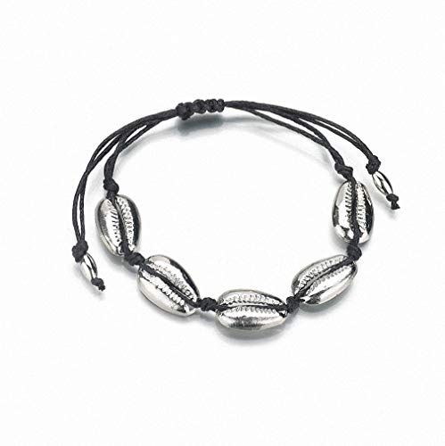 Womens Bracelet Bohemian Handmade Rope Bracelet for Women Gold Color Alloy Vintage Bohemian Natural Cowrie Shell Charm Chain Hand Woven Strand Bracelet Pulseras Mujer Silver Plated