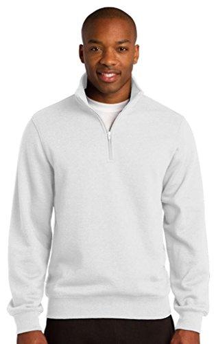 Sport-Tek Men's Colorfast 1/4-Zip Wiastband Sweatshirt White ()