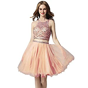 0563eccb69e Belle House Women s Short Tulle Beading Homecoming Dress 2 Pieces Prom Gown  for Juniors 2018 Blush
