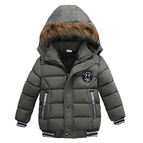 Kehen Kids Toddler Boy Girl Winter Fur Hooded Trench Coat Warm Down Jacket Thick Outerwear (Gray, 4T) by Kehen
