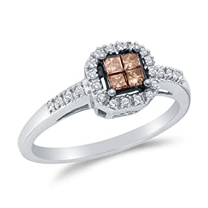 Size 4.5 - 14K White Gold Chocolate Brown & White Princess Cut & Round Diamond Halo Circle Engagement Ring - Invisible Set Square Princess Center Setting Shape with Prong Set Side Stones (1/4 cttw.)