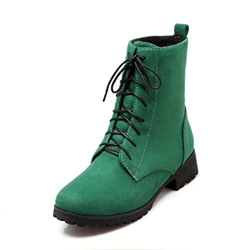 Lucksender Womens Fashion Tacco A Spillo Tacco Basso Martin Boots Verde