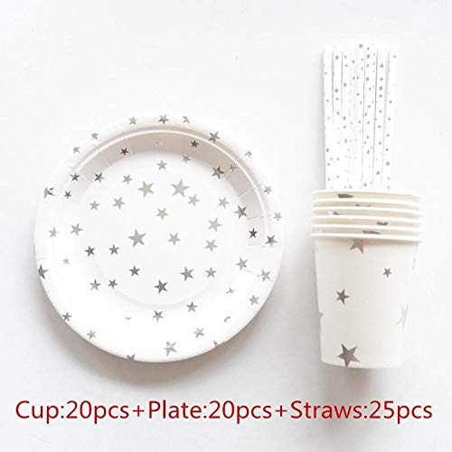 Taka Co Plastic Party Cups 65pcs/Set Gold Foil Wave Disposable Tableware Christmas New Year Party Paper Plates Cups Birthday Party Supplies Plastic Straws-Silver Star]()
