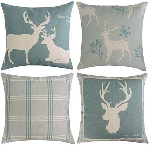 Munzong Set of 4 Winter Reindeer Decorative Throw Pillow Covers 18 x 18 Inch, Sofa Throw Cushion Cover for Christmas Day Buffalo Plaid Farmhouse Home Decoration, Soft Cotton Linen Square Pillowcases (Reindeer Cushion)