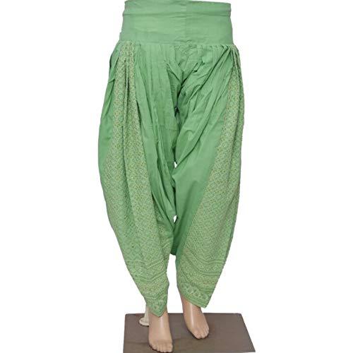 (Indian Punjabi Cotton Patiala Salwar with Chikan Embroidery and Sequins Work, Pakistani Shalwar, Casual Pants Green)