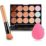 Meritina Fashion Base New 15 Colors Contour Face Cream Makeup Concealer Palette + Powder Brush +Pink Sponge Puff …