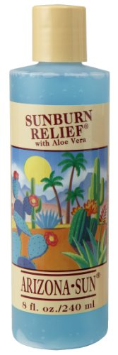 Arizona Sun Sunburn Relief with Aloe Vera - 8 oz - Relieves Cuts - Insect Bites - Scrapes - Abrasions - Minor Burns Itchy Skin - Healing - Soothing - Moisturizing - Peeling Relief