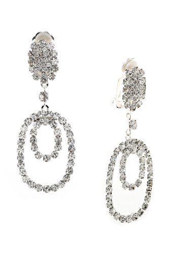 Silver Crystal Rhinestone Double Oval Shaped Dangle Earrings