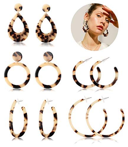 FIBO STEEL Acrylic Dangle Earrings for Women Mottled Circle Hoop Drop Earrings Fashion Jewelry