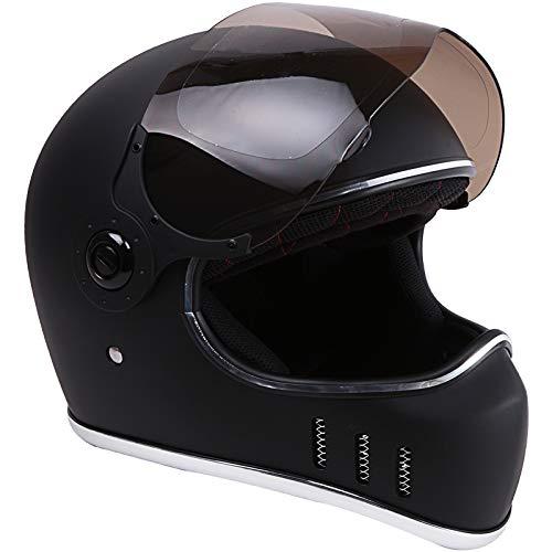 Motorcycle Helmet DOT Motorbike Scooter MX Cruiser Cafe Racer 6 Vents (Matte Black, X-Large)
