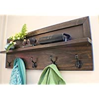 You Pick the Stain and Mesh Color 5 Hook, Stained Wall Mounted Coat Rack, Wall Organizer and Shelf