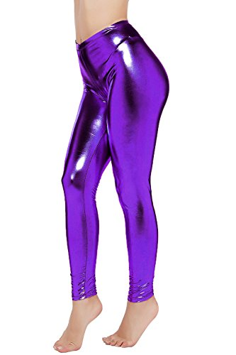 - PINKPHOENIXFLY Womens Sexy Shiny Faux Leather Leggings Pants (S, Purple)