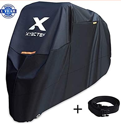 XYZCTEM Motorcycle Cover -Waterproof Outdoor Storage Bag,Made of Heavy Duty Material Fits up to 108 inch, Compatible with Harley Davison and All motors(Black& Lockholes& Professional Windproof Strap)