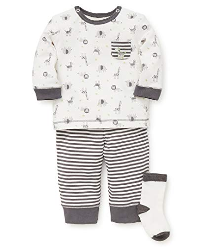 Little Me Baby Boys Jogger Set, Safari Castlerock/Marshmallow/Bright Lime, 6 Months