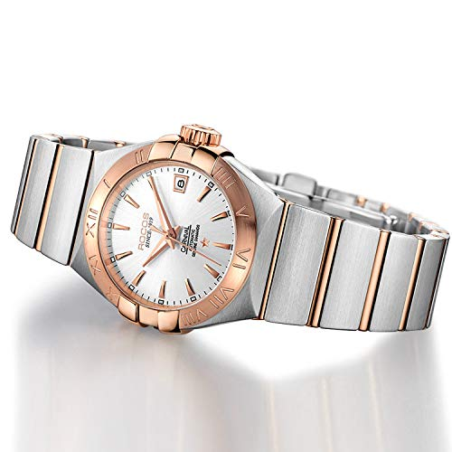 Women's Wrist Watch ROCOS Rose Gold Dress Watch with Stainless Steel and White Dial Ladies Crystal Analog Watches Luxury Classic Elegant Gift #R1101L ()