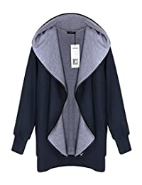 ACEVOG Women Hoodie Hooded Parka Zipper Jacket Cardigan Blazer Coat Outwear