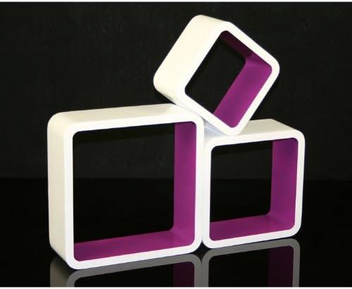 Homestyle4u - Estantería de Pared con diseño Retro, 3 Unidades, Color Morado, tamaño pequeño