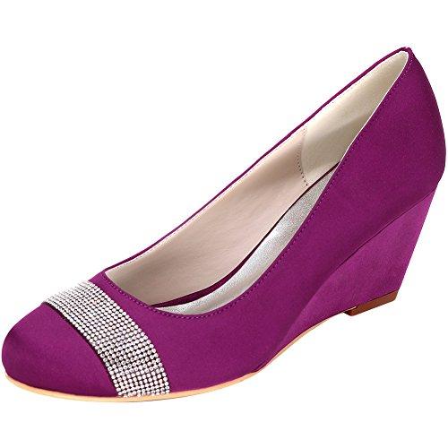 Femmes Talons Compensés Bout Rond Pompes À Talons Satin Chaussures De Soirée Robe Violet-c