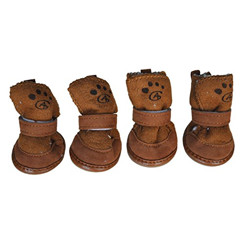 TOOGOO(R) Brown Hook Loop Closure Booties Pet Dog Chihuahua Shoes Boots 2 Pair - Loop Bootie