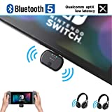 Golvery Bluetooth Audio Adapter for Nintendo Switch & PC, Type C/USB Bluetooth 5.0 Transmitter, Plug & Play, No Sound Lag, Pass-Through PD High Speed Charging, Support In Game Voice Chat