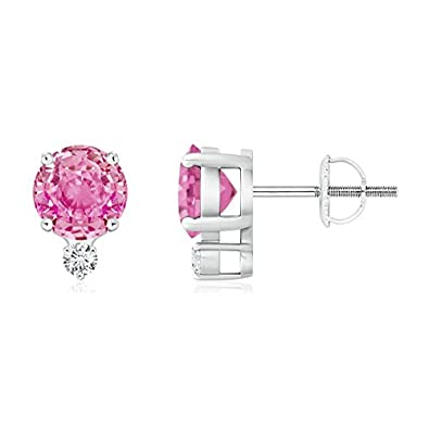 Angara Four-Prong Pink Sapphire and Diamond Basket Stud Earrings in Platinum GfH2pUV
