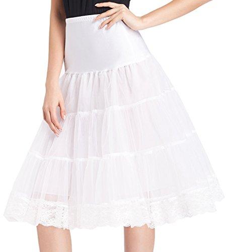 GRACE KARIN Bridal Petticoat Crinoline Knee Length Underskirt (L, White)