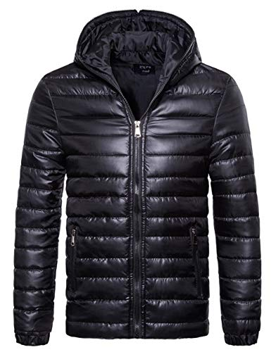 SOMTHRON Men's Winter Thermal Hooded Puff Parka Jacket Lightweight Zip Up Feather Down ()
