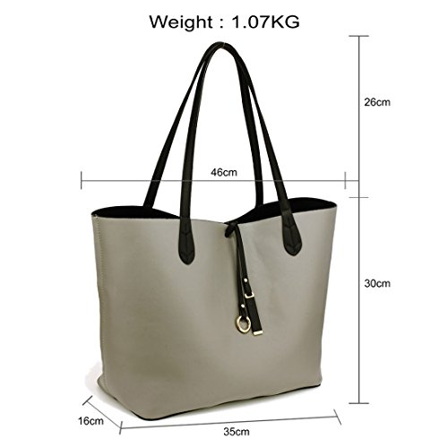FREE Gorgeous up Fits UK laptops DELIVERY to Tote Black 50 4'' Bag Large SAVE Grey 15 Reversible qrxgnCq7
