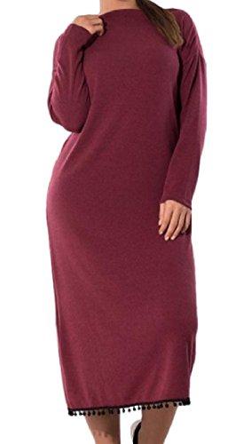 Pura Dimensioni Rappezzatura O Colore Elegante Di collo Vino Rossa Di Largo Tunica Grandi Vestito Coolred donne Nappa 5xl F8O00R