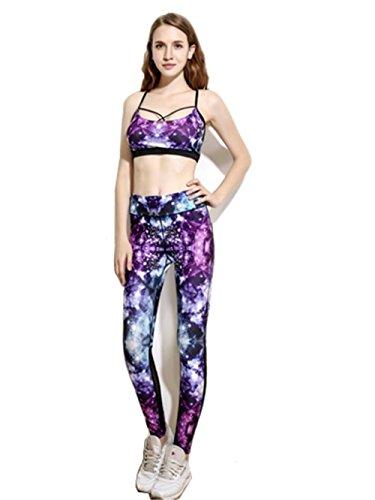 ZHLONG Femeninos delgados pantalones de yoga absorbente de sudor correr transpirable para la aptitud de impresión Pantalón tobillero yoga-0028