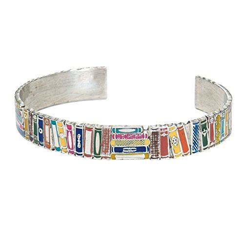 FLORIANA Women's Books Cuff Bracelet - Colorful Enameled Literary Jewelry