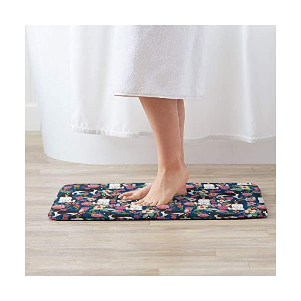 Non Skid Memory Foam Bath Mat English Springer Spaniel and Retro Floral Home Decor Shaggy Rugs Entryway Mat, Machine-Washable/Fast Drying/Anti Fatigue Doormat (19.5 x 31.5 inch) 2