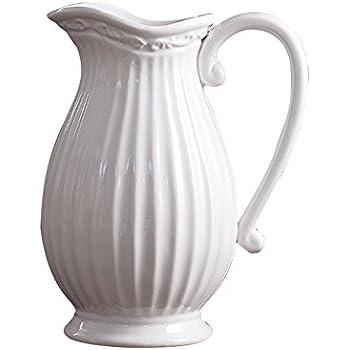 Amazon Dvine Dev 10 Inches Tall White Ceramic Pitcher Vase