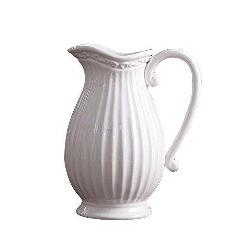 Jomop Decorative Pitcher, Embellished Pitcher Ceramic Vase Home Decor Gift (9.8 in, White) by Jomop