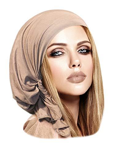ShariRose Light Beige Pre-Tied Headscarf Headcovering Tichel Snood Hat in 30 Colors! (Beige Short - 362) (Head Skibrille)