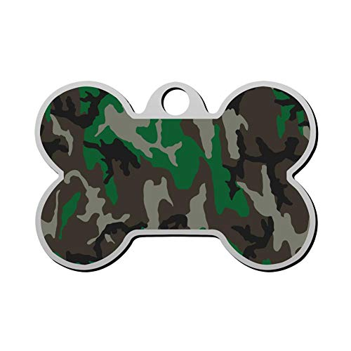 GPZHM Customized Woodland Camouflage Pet Tag - Bone Shaped Dog Tag & Cat Tags Pet ID Tag Personalized Custom Your Pet's Name & Number 3D Printing ()