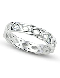 925 Sterling Silver Celtic Knot Eternity Band Ring, Limited time offer at special price