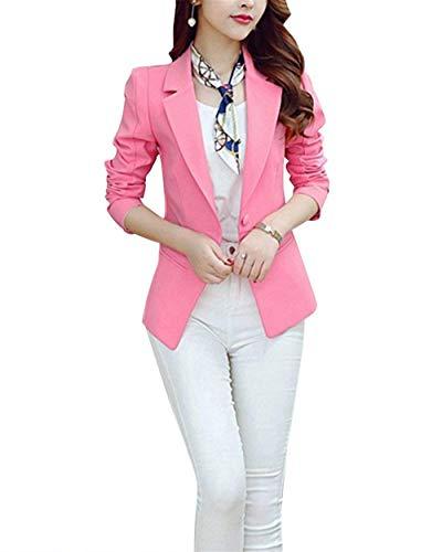 Alla Manica Donna Blazer Pink Moda Con Giacca Puro Cappotto Grazioso Autunno Eleganti Tasche Business Bavero Button Da Giacche Tailleur Ufficio Lunga Primaverile Colore IgyvmY7bf6
