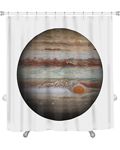 Gear New Solar System Jupiter Isolated Planet on White Shower Curtain, 74'' X 71'' by Gear New