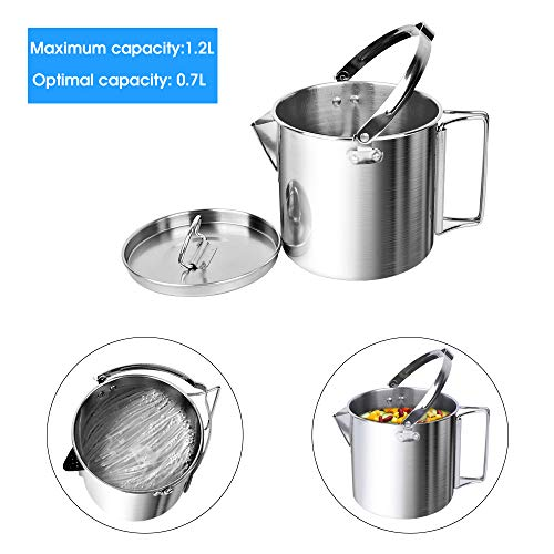 3497000a47a Chihee Camping Kettle Stainless Steel Outdoor Cooking Kettle 1.2L  Lightweight Compact Camping Pot Teakettle Hiking