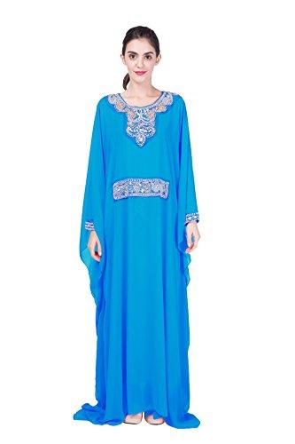 Chiffon GLADTHINK Lose Elegant Voll Fledermaus Blau Kleid Länge Muslim Abaya Ärmel Frau YSYwxrA